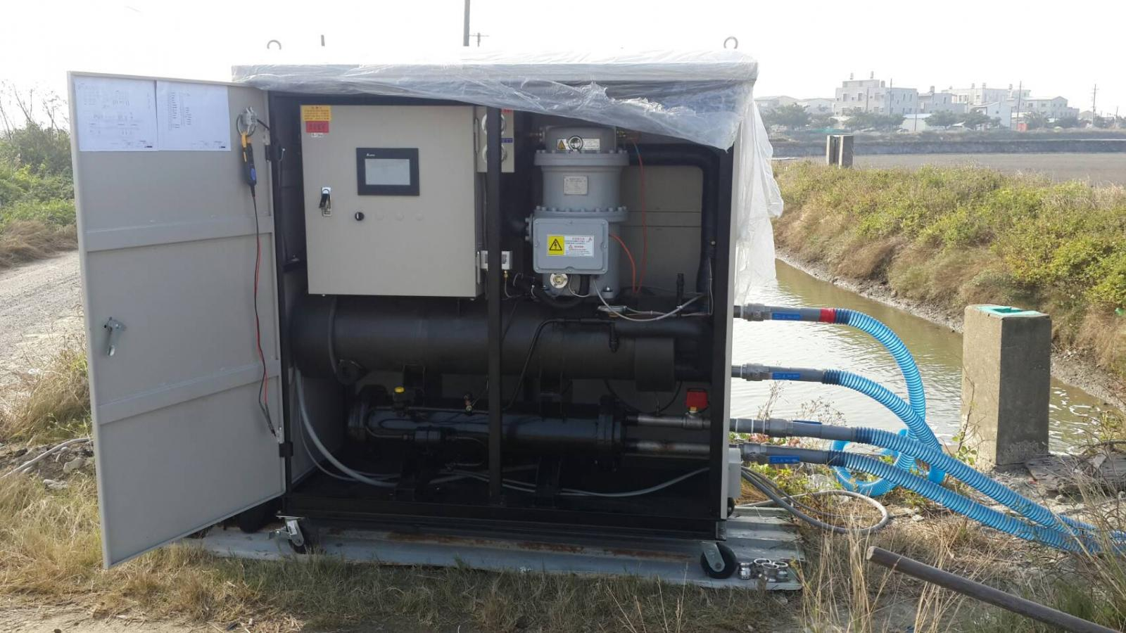 The heat pump used in the field experiment aims to assist fish farm against cold weather.