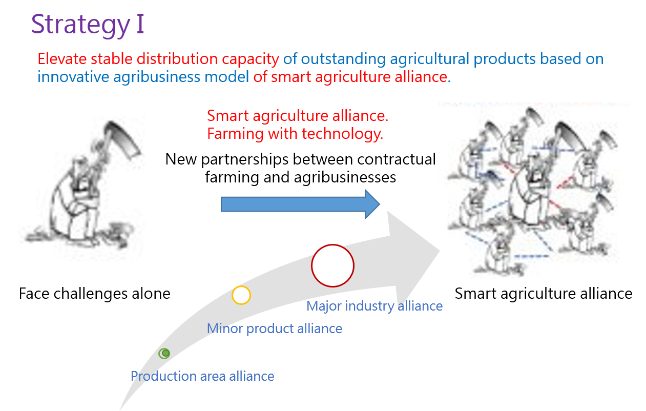 "Figure 1: Diagram of ""promotion of development and application of smart agricultural production technology via smart agriculture alliances"" strategy."